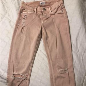Hudson Nico pink skinnies distressed